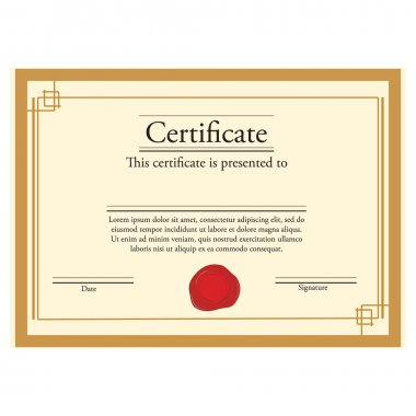 Certificate with wax stamp