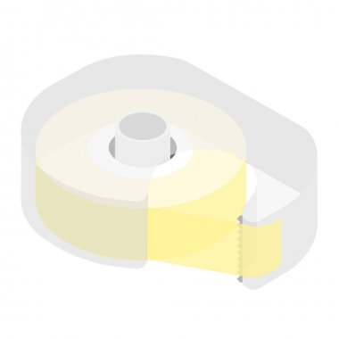 Vector illustration scotch tape office stationery. Scotch isolated on white background isometric view. icon
