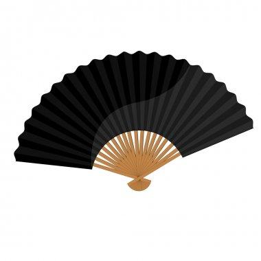 Black folding fan