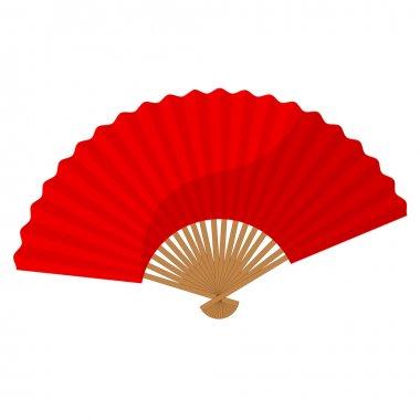Red folding fan