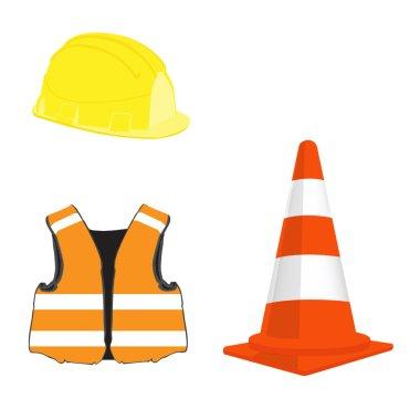 Building set with orange traffic cone, yellow helmet and orange safety vest vector stock vector