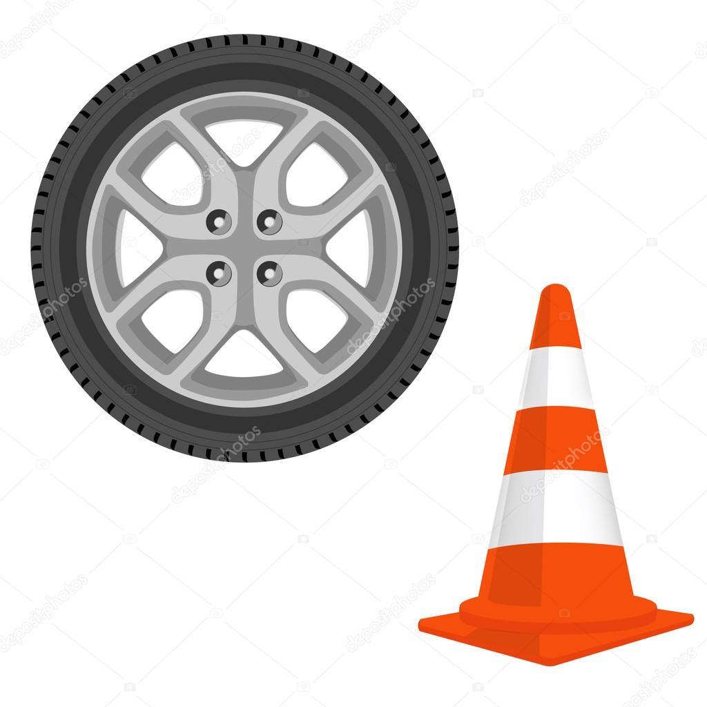 Traffic cone and car wheel