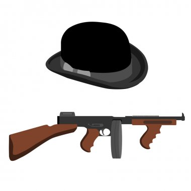 Tommy gun and bowler hat