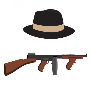 Tommy gun and fedora hat