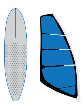 Windsurf sail and surfing board