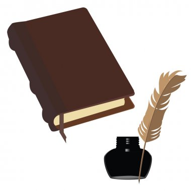 Brown book and inkwell