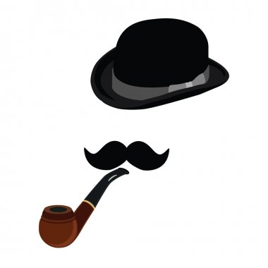 Bowler hat, smoking pipe and mustache