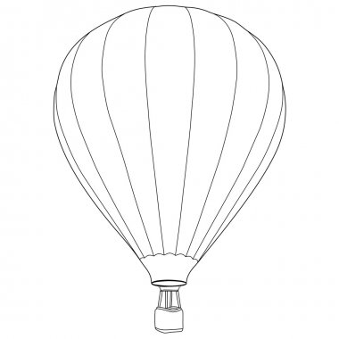 Vintage hot air balloon with basket vector icon isolated, summer sport, outline drawings clip art vector