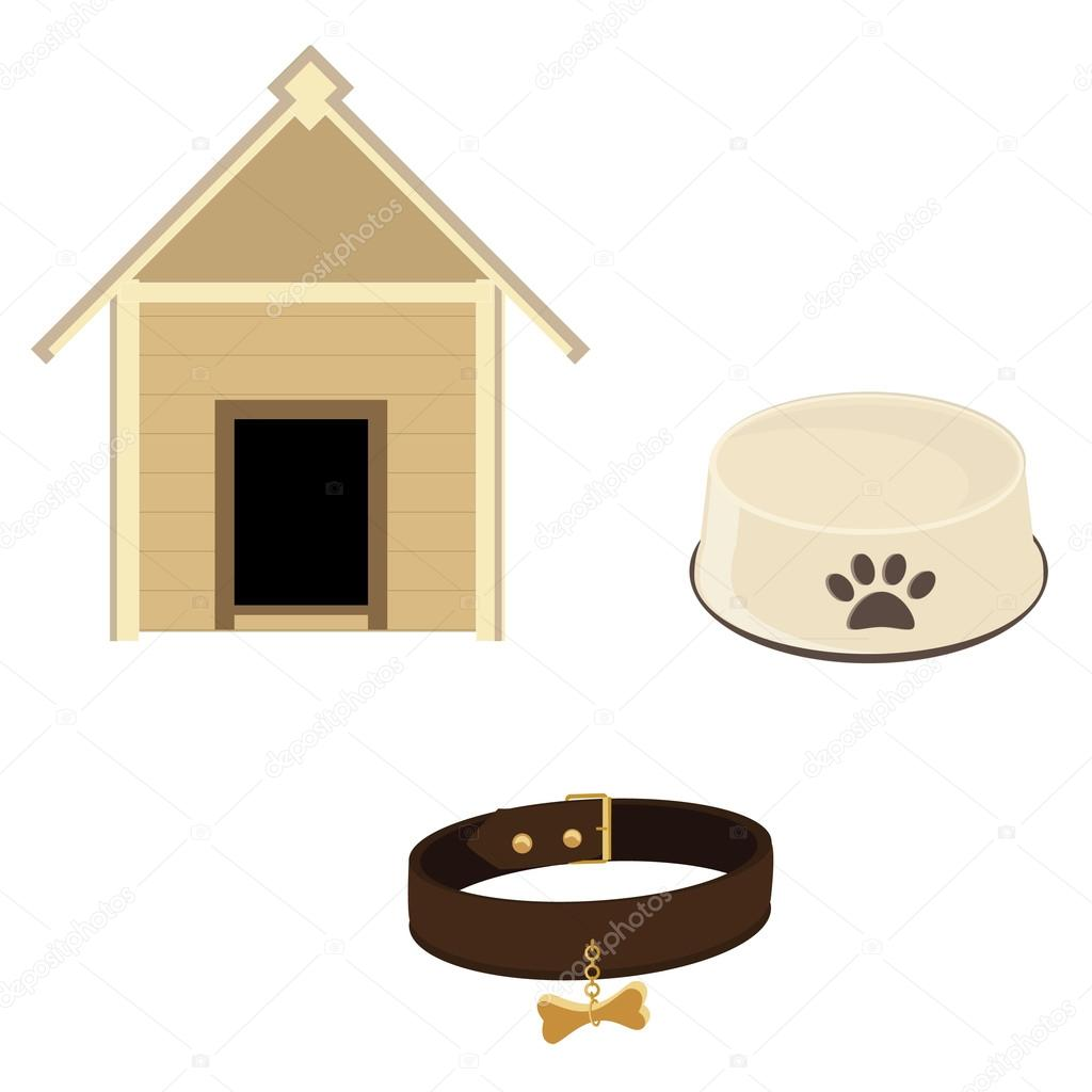 Dog equipment icon set