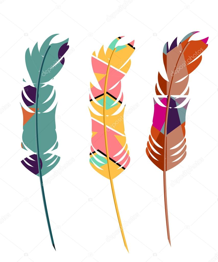 Three color feathers