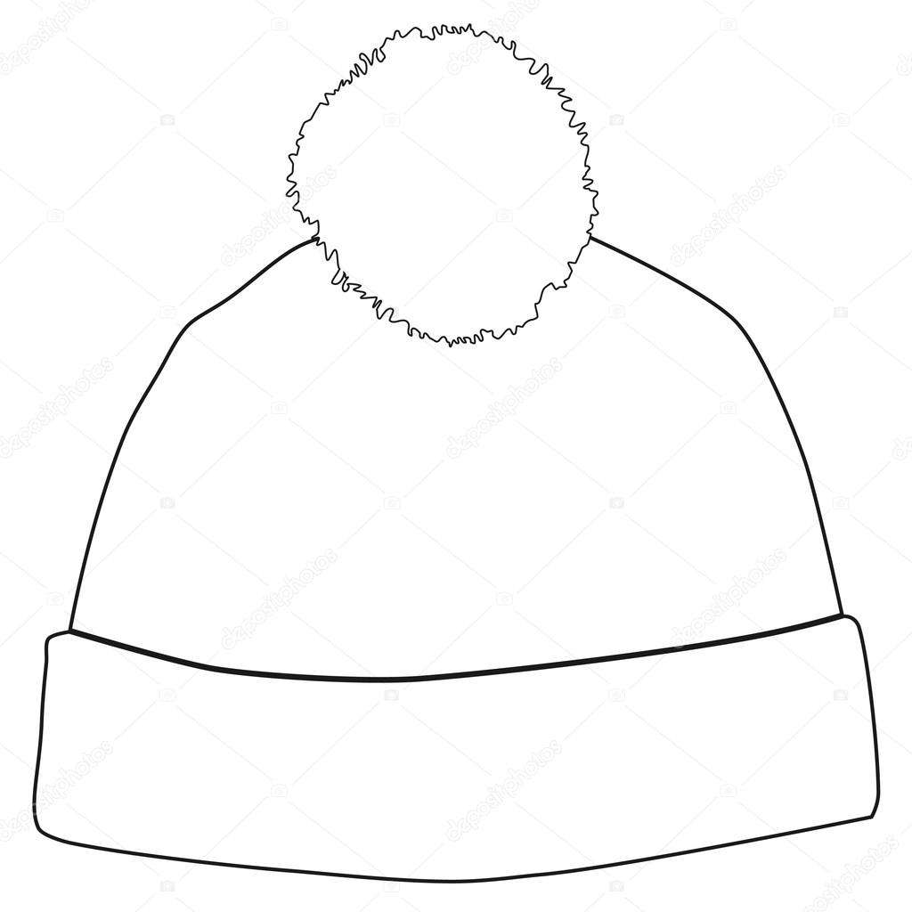 Winter hat outline dra...