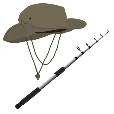 Download Fishing Pole And Hat Free Vector Eps Cdr Ai Svg Vector Illustration Graphic Art