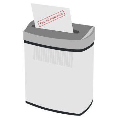 Shredder and text personal information
