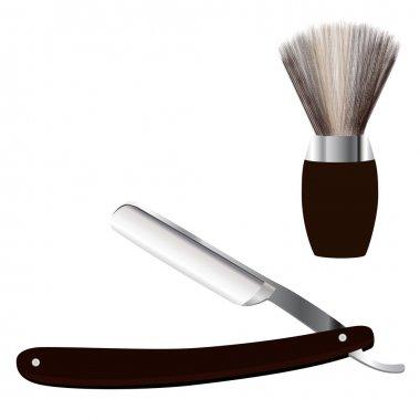 Razor and shave brush