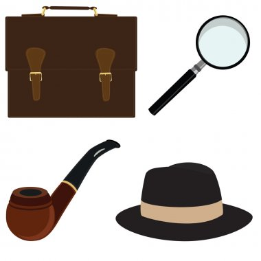 Pipe, fedora hat, magnifier, briefcase