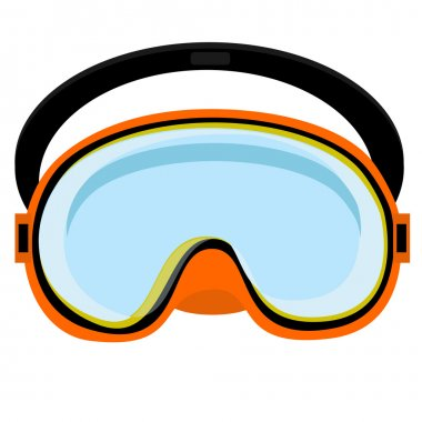 Orange diving mask, diving mask, mask isolated, diving equipment stock vector