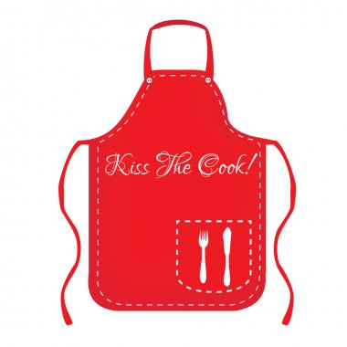 Red apron with text kiss the cook