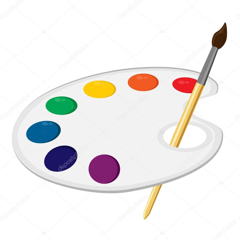 Paleta de arte con pincel vector de stock for Paleta de colores pintura
