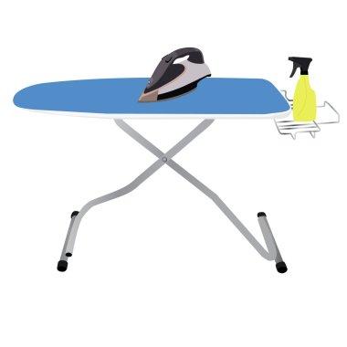 Ironing board, iron and spray