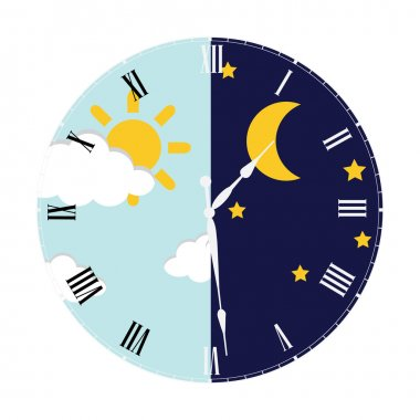 Clock with day night concept clock face vector illustration. Blue sky with clouds and sun. Moon and stars in the night stock vector