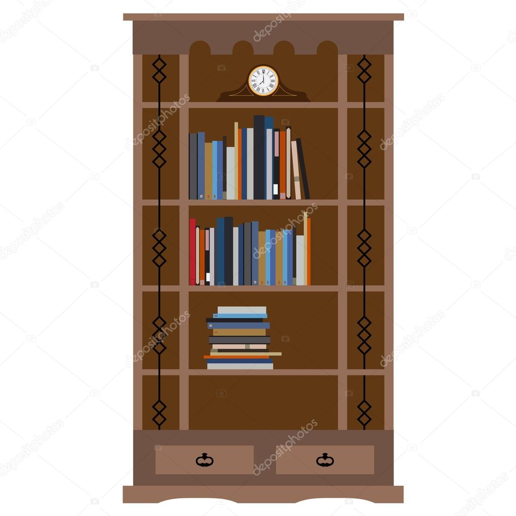 Wooden bookcase with books on shelf and