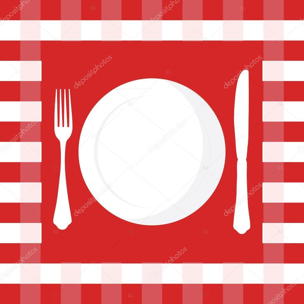 Mantel plato tenedor y cuchillo vector de stock for Plato tenedor y cuchillo