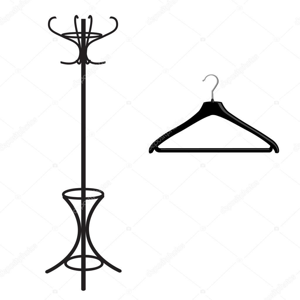 Coat rack and hanger stock vector viktorijareut 81648952 coat rack and hanger black silhouette vector illustration clothes hanger floor hanger vector by viktorijareut buycottarizona