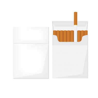 Opened and closed cigarette pack