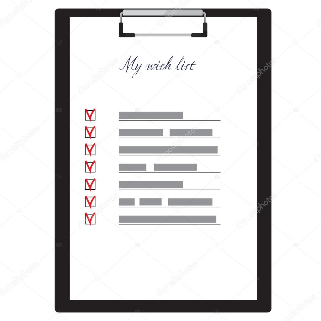 Clipboard and wish list