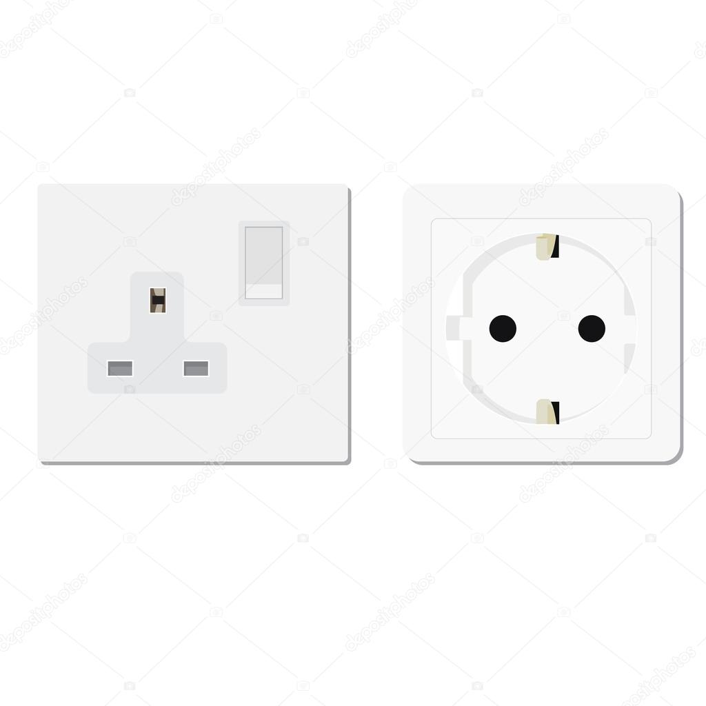 European and uk socket — Stock Vector © viktorijareut #81658660