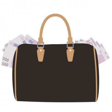 Handbag with money
