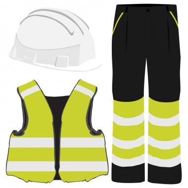 Yellow safety clothing vector icon set with safety vest, pants and white hardhat helmet. Safety equipment. Protective workwear stock vector