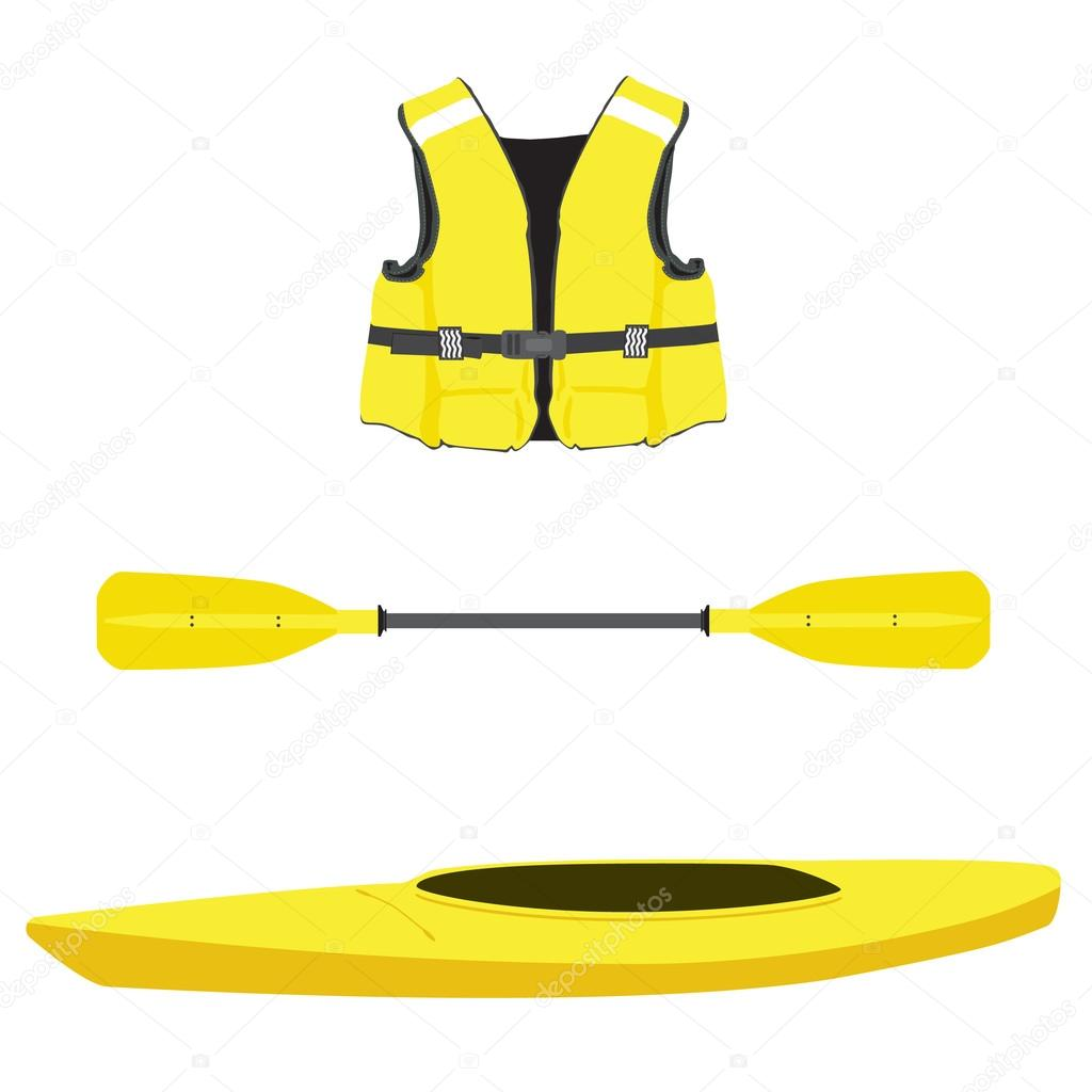 Life Jacket Kayak Boat And Oar Stock Vector