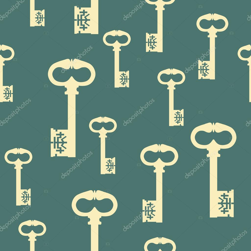pattern with antique keys — stock vector