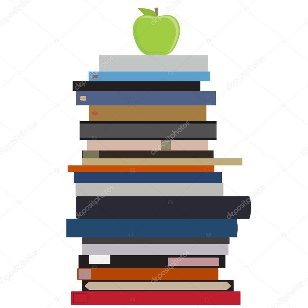Apple Et La Pile De Livre Image Vectorielle Viktorijareut