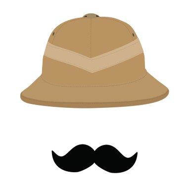 Safari hat and mustache