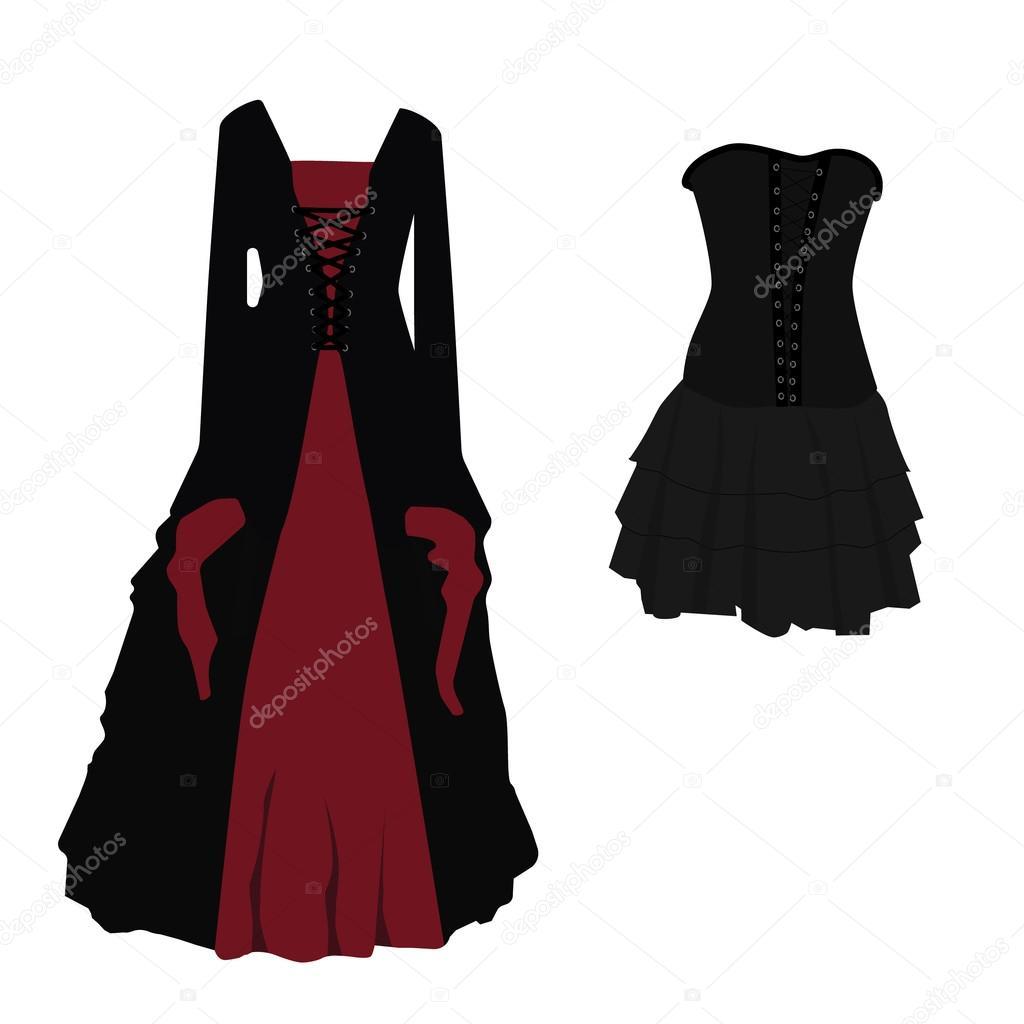 ddb9999e9b Halloween jelmez fekete és piros gótikus ruhát boszorkány vektoros  illusztráció. Hosszú és rövid nő ruha, fűző — Vektorok viktorijareut ...