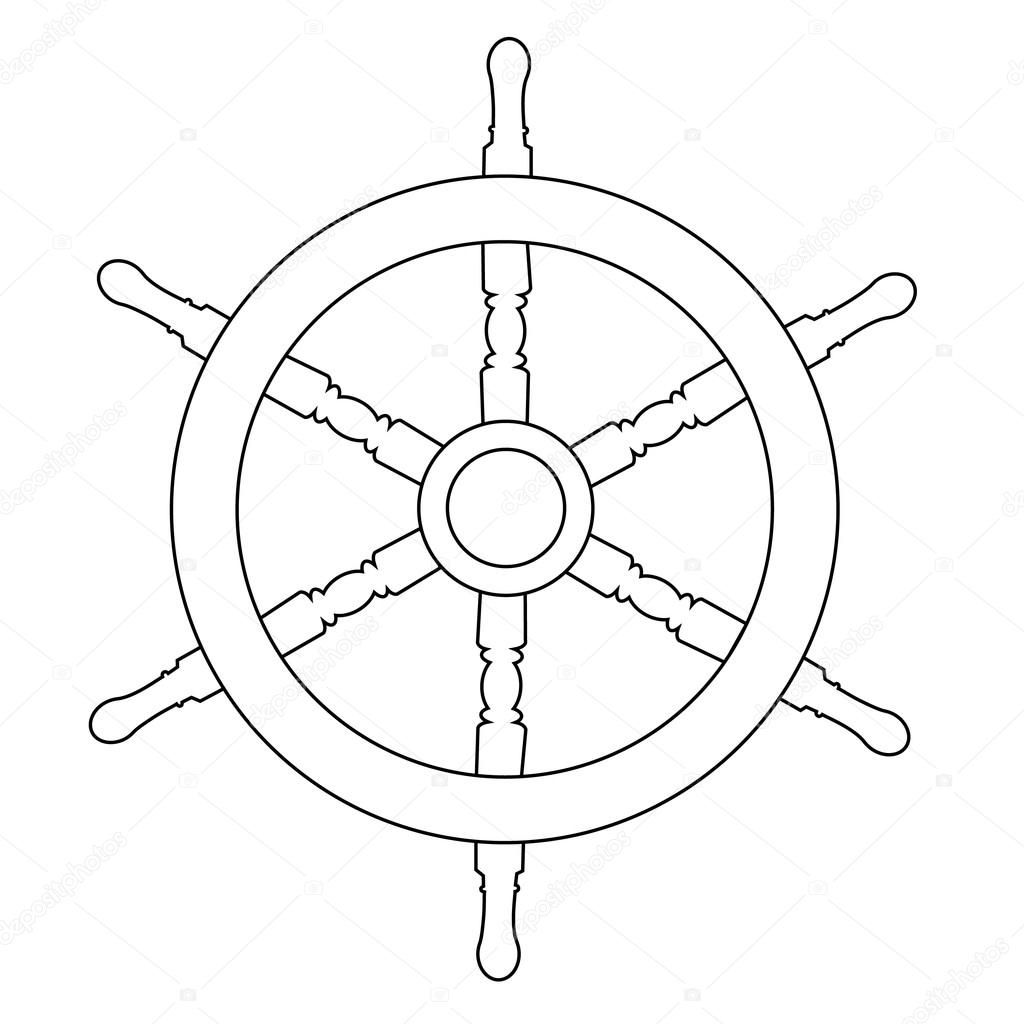 Wooden Steering Ship Wheel Raster Isolated On White Outline Drawings Silhouette Photo By Viktorijareut