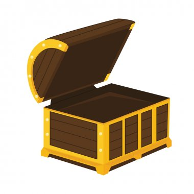 Vintage wooden chest with open lid vector illustration. Pirate chest open vector icon stock vector