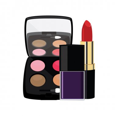 Eyeshadows, red lipstick and purple nail polish vector illustration. Make up and cosmetics collection stock vector