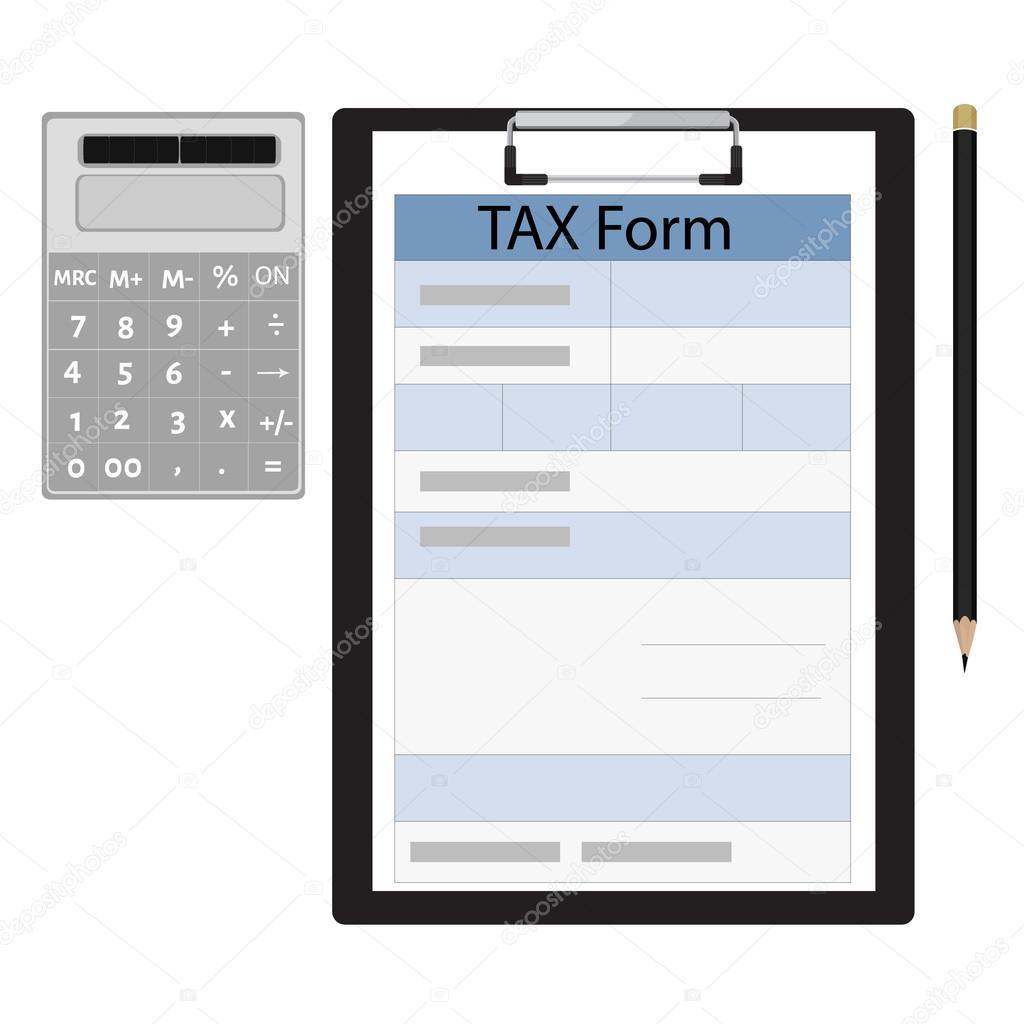 Forma de impuestos, lápiz y calculadora — Foto de stock ...