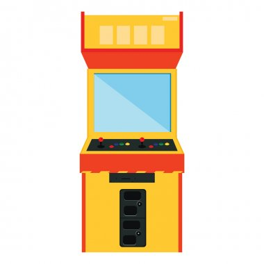 Vector illustration retro arcade game machine. Gaming machine flat icon stock vector