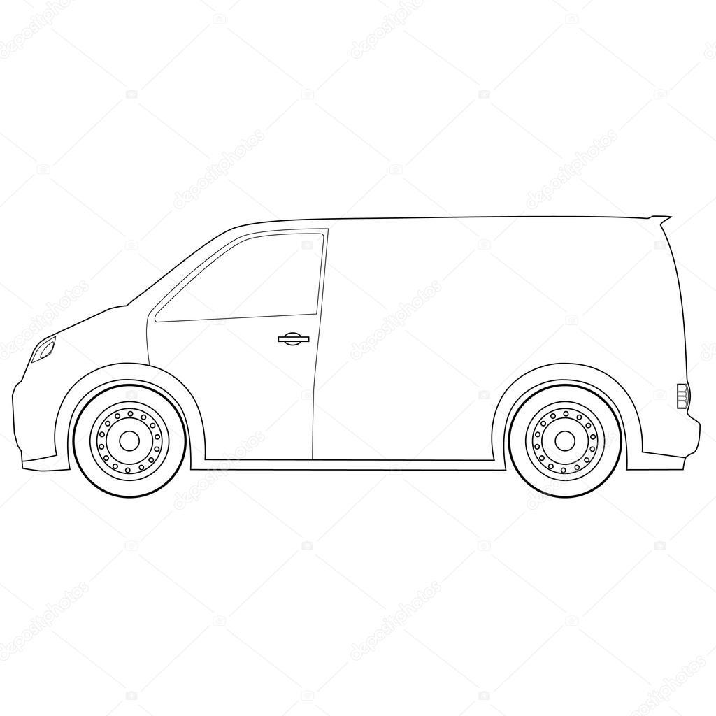 Dibujos de contorno entrega coche — Foto de stock © viktorijareut ...