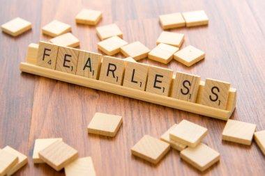 Scrabble letters - FEARLESS