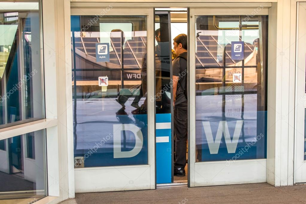 DFW Airport   Passengers In The Skylink Station U2014 Stock Photo