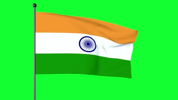 Green screen 3D Illustration of The National Flag of India is a horizontal rectangular tricolour of India saffron, white and India green; with the Ashoka Chakra, a 24-spoke wheel, in navy blue at its centre.