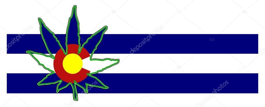 Colorado Marijuana Leaf with Blue Stripes