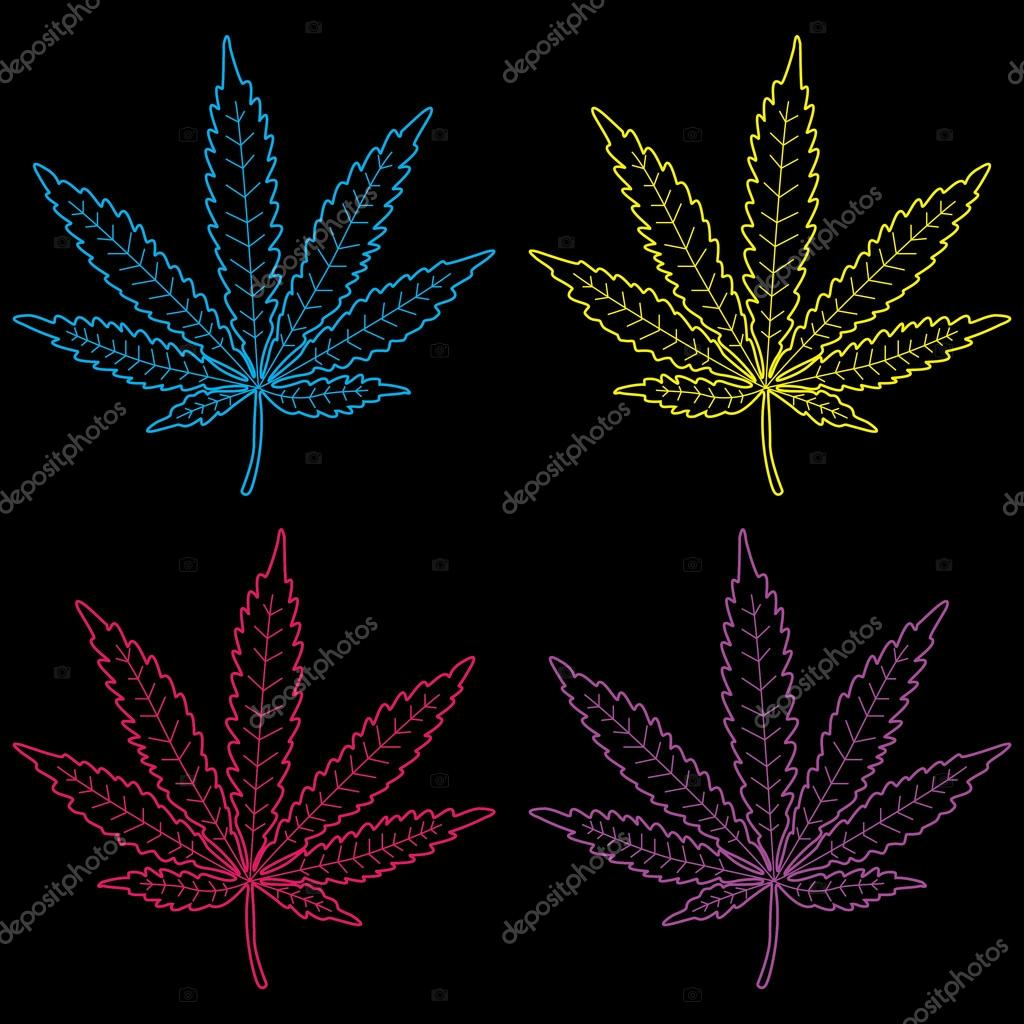 Marijuana Leaves Neon Colored