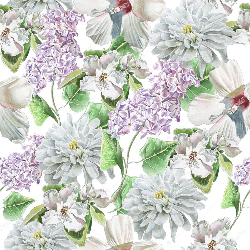Seamless pattern with flowers. lily. Chrysanthemum. Lilac. Blossom. Watercolor.