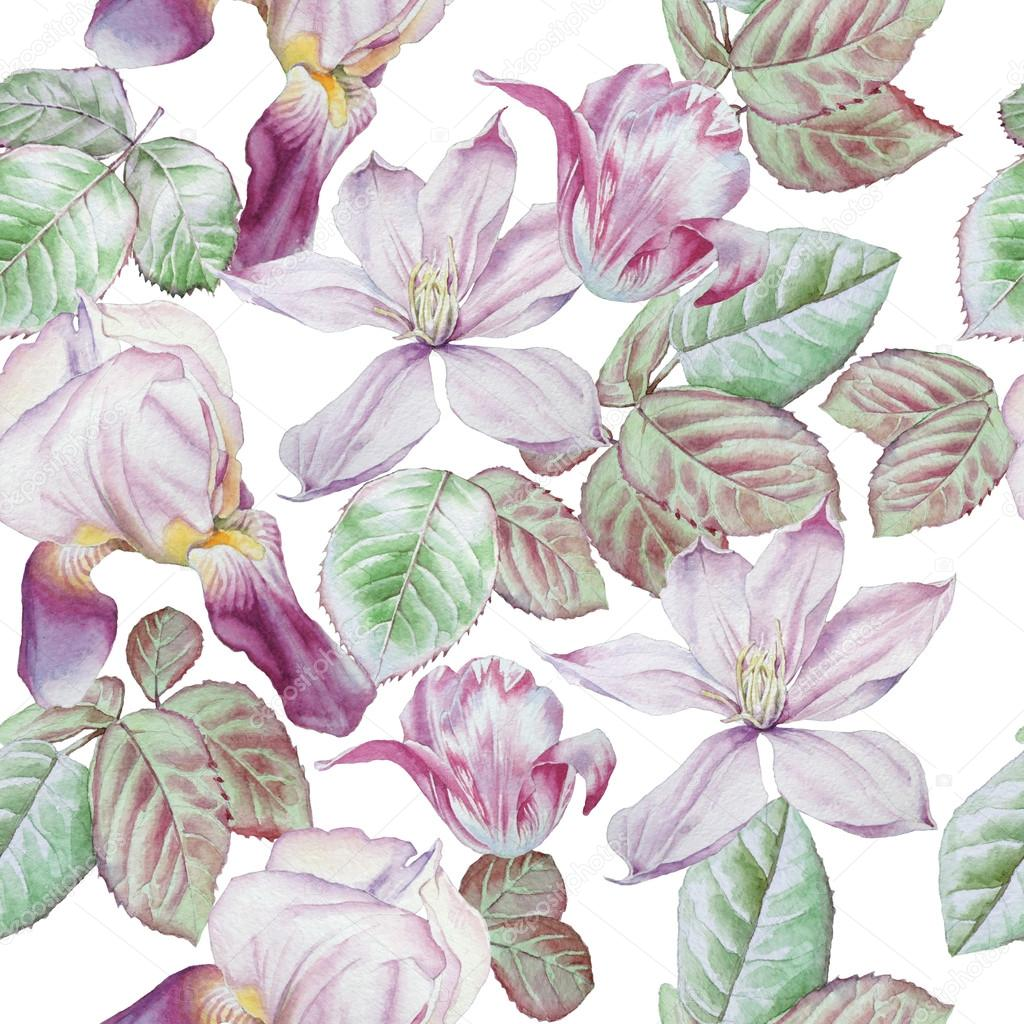 Seamless Pattern With Spring Flowers Clematis Tulip Iris